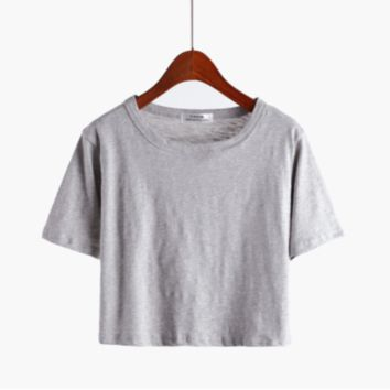 Bare-midriff Women's Cotton Solid T Shirt