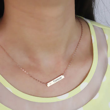 Personalized Name Bar Necklace / Engraved Word Necklace / Rectangular Pendant