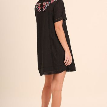 Vintage Love Embroidered Cotton Tunic Dress - Black