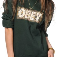 Obey Drug Rug Green Crew Neck Sweatshirt