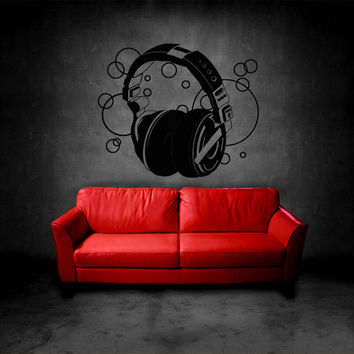 Wall Decal Vinyl Sticker Decals Headphones Music Notes Audio Sketch Art Drawing (z3145)