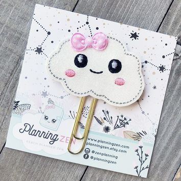 Sparkly Kawaii Cloud Felt Planner Clip