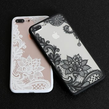 Floral Sexy Lace Mandala Case For iPhone 7 Plus Fashion Vintage Flower Clear Cover For iPhone 5 5S SE 6 6S Plus 5C Phone Back