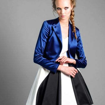 Satin Cropped Jacket in Navy Blue