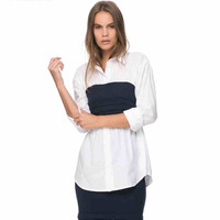 White Long Sleeve Wrap Navy Blouse