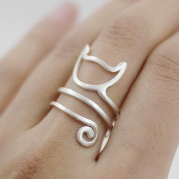 Sterling Silver Adjustable Spiral Cat Tail Ring