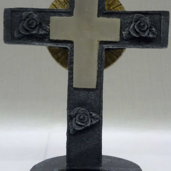 Lighted Decorative Cemetery Cross - Solar Powered
