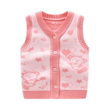 New Baby Vests Fashion Infant Clothes Cartoon Unisex Vest Cotton Wool Cardigan Bear Prints Toddler Waistcoat Hot Baby Clothing