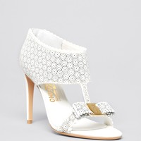 Salvatore Ferragamo Open Toe Platform Sandals - Pellas Lace High Heel