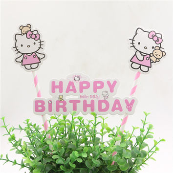 1set hello kitty cake topper set kids girls happy birthday decorate party baby shower supplies cake accessories