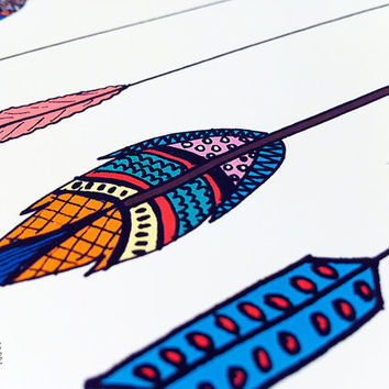 Arrow Art Print, Printable art wall decor, INSTANT DOWNLOAD tribal aztec colored poster art - hand drawn whimsical graphic digital