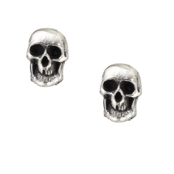 Alchemy Gothic Death Skull Pewter Earrings