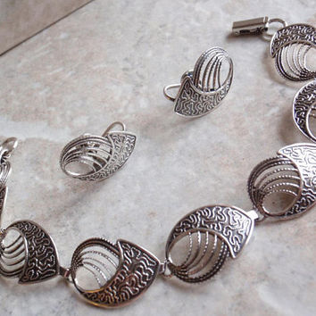Beau Sterling Set Bracelet Earrings Brooch Pin Swirl Modernist Vintage V0099