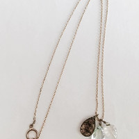 Sweet Gold Toned Fine Chain with Toggle Closure and Three Wired Faceted Crystal Pendants - Crystal Pendants