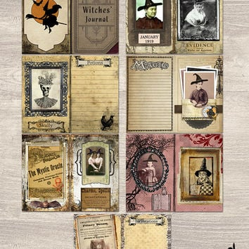 Witches Halloween Book of Shadows Journal Pages Spell Book Occult Wicca Grimoire Printable Digital Download Smash Book Project Life