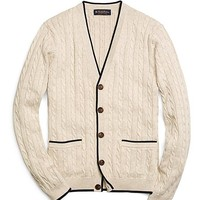 Supima® Cable Cardigan - Brooks Brothers