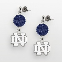 Notre Dame Fighting Irish Sterling Silver Crystal Linear Drop Earrings (Blue)