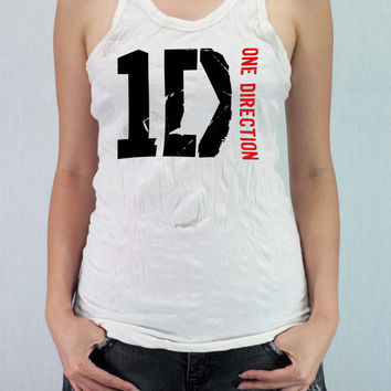 1D One Direction - Women Wrinkle Shirt Racer Tank Top Tank Racerback with traditional silk screen