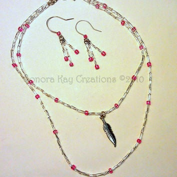 Silver Feather with Hot Pink Glass Beads Necklace  and Earring Set