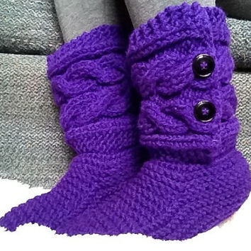 Cabled button slipper boots, knit slippers, valentine's day gift, handmade slippers, Violet slippers