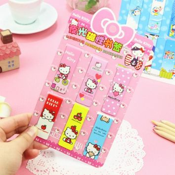 6 Pcs/pack Kawaii Hello Kitty Luminous Magnet Bookmarks Paper Cl