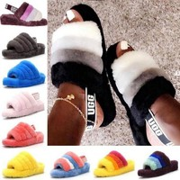 Free shipping-UGG Tide brand plush versatile slippers
