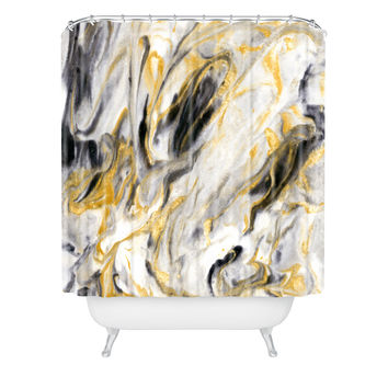 Jacqueline Maldonado Black and Gold Marble Shower Curtain