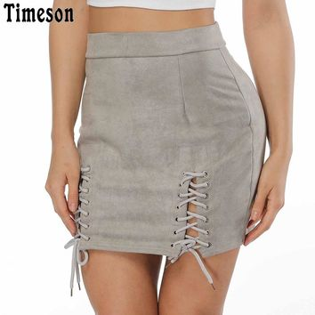 Timeson Sexy Cross Lace Up Leather Suede Skirts Women 2018 Vintage Zipper Split Mini Skirt High Waist Bodycon Short Pencil Skirt