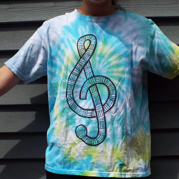 Kids Treble Clef Shirt, Custom Tie-Dye Music Shirt, Treble Clef Tshirt, Kids Music Gift, Musician Gift, Hippie Kids Tiedye, Musical
