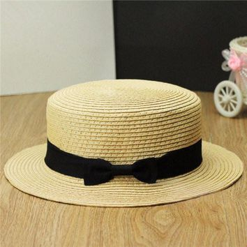 Women Ladies Fedora Hat Trilby Bowknot Straw Panama Summer Jazz Beach Sun Cap