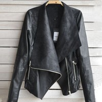 Aokdis Vintage Women Biker Motorcycle Leather Zipper Jacket Coat (L)
