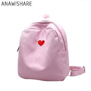 ANAWISHARE Women Backpacks Canvas Bookbag Embroidery Small School Bag For Teenagers Girls Rucksack Travel Bag Mochila Feminina