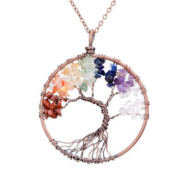 Tree Of Life  7 Chakra Pendant Copper, Multi-Color Crystals, Natural Stone Necklace
