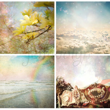 Sweet Serenity - FOUR PHOTO set,  baby nursery, nursery decor, photography gift set, babys room, instant collection, cloud rainbow nursery