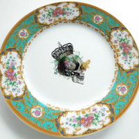 Green Skull Vintage Plate(s), Different Options, NEW, Available without Decal, very Steampunk