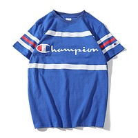 Champion Fashion Women Men Color Matching Stripe Print Short Sleeve Round Collar T-Shirt Top Blue I13503-1
