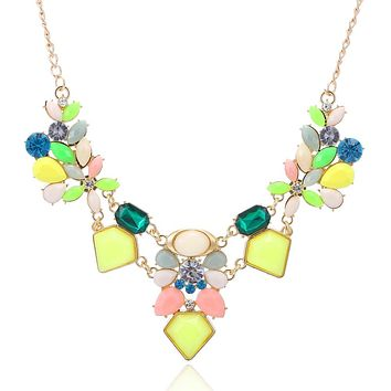 Aggressively Springy Statement Necklace in Happy Yellow, Pink, Blue and Gold