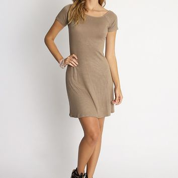 Coffee Break Essential Knit Dress In Greige