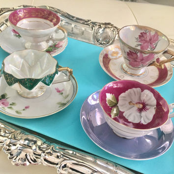 Fancy Japanese Vintage Mismatched China Tea Cups and Saucers Bridal Shower Tea Party High Tea, Antique Tea Cups