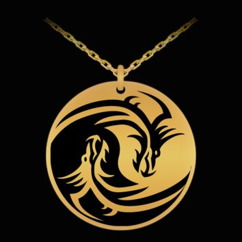 Dragon yin-yang laser etched pendant necklace