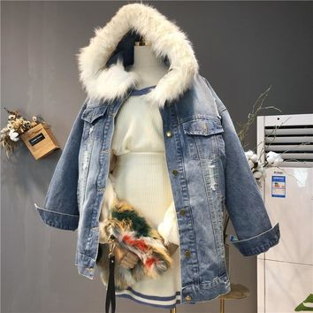 Trendy SHENGPALAE 2018 New Autumn Winter Fashion Woman Blue Detachable Large Fur Collar Hooded Hole Plus Velvet Denim Jacket SC31800 AT_94_13