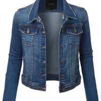 LE3NO Womens Classic Long Sleeve Distressed Denim Jacket with Pockets