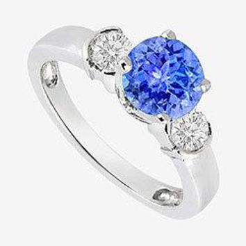 14K White Gold Engagement Ring side Diamonds and Tanzanite 1.20 Carat TGW