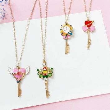 free shipping 6 pcs/lot  fashion jewelry metal enamel sailor moon card captor Alice pumpkin wing heart necklace