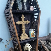 Coffin Shelf, Gothic Shelf, Spider Webs, Gothic, Horror, Coffin, Gothic Decor, Gothic Furniture