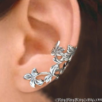 925. Spring Leaf branch - Sterling Silver ear cuff earrings, Non pierced earcuff jewelry 110412