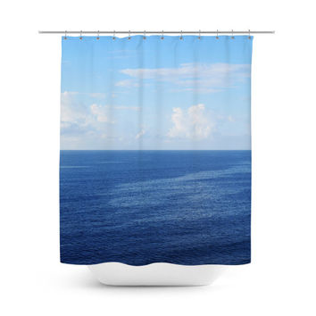 Caribbean Sea - Shower Curtain, Ocean Blue Seascape Vanity Accent, Coastal Style Bathroom Decor Hanging Bath Tub Curtain Backdrop. 71x74