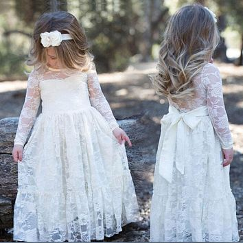 2017 Girl Lace Long Maxi Dress Rose Baby Kids Princess Wedding Prom Party White Cream Big Bow Long Sleeve First Communion Dress