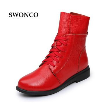 Women's Boots Ankle Boot Genuine Leather Lace Up Winter Boot Ankle Boots For Women Genuine Leather Low Heel Female Shoes