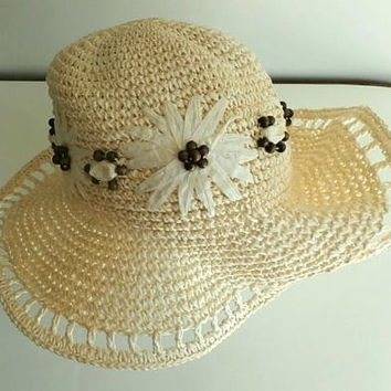 Crocheted Cream Paper Hat, Woman's Woven Vintage Boho Sunhat with beads , Lacy Scalloped Brim, Ladies Straw Hat